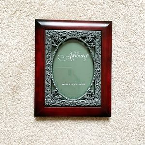 Elegant cherry wood & pewter picture frame